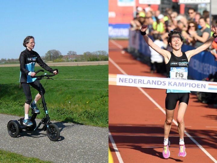 Nationaal kampioene marathon 2017, Mireille Baart, traint op de Me-Mover.